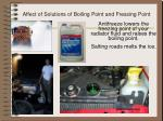affect of solutions of boiling point and fressing point