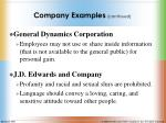 company examples continued