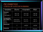 pie diabetico criterios de control de la diabetes