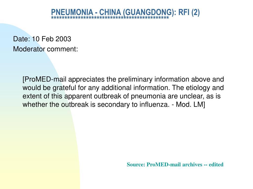 PNEUMONIA - CHINA (GUANGDONG): RFI (2)