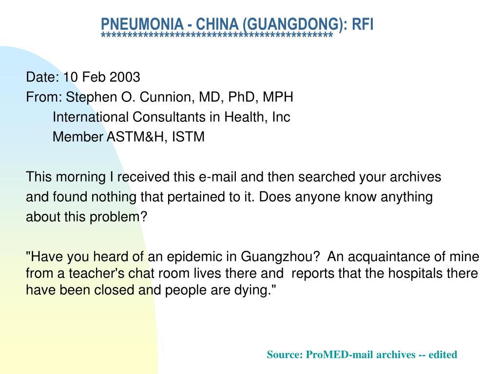 PNEUMONIA - CHINA (GUANGDONG): RFI