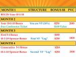 month 1 structure bonus pvc
