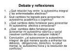 debate y reflexiones