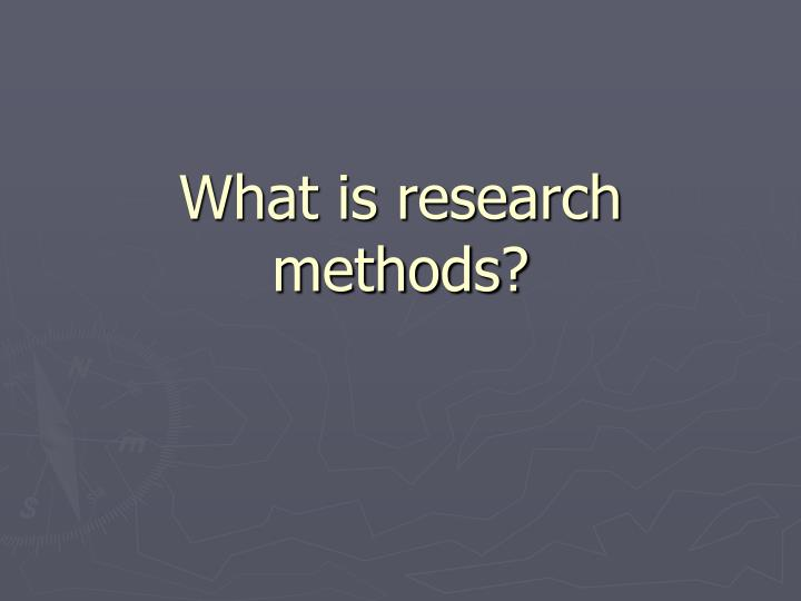 what is research methods n.