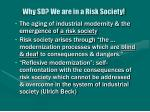 why sd we are in a risk society