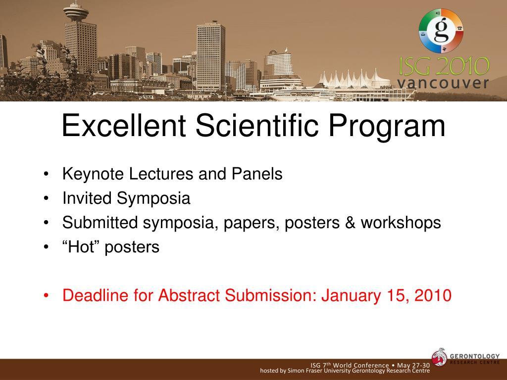 Excellent Scientific Program