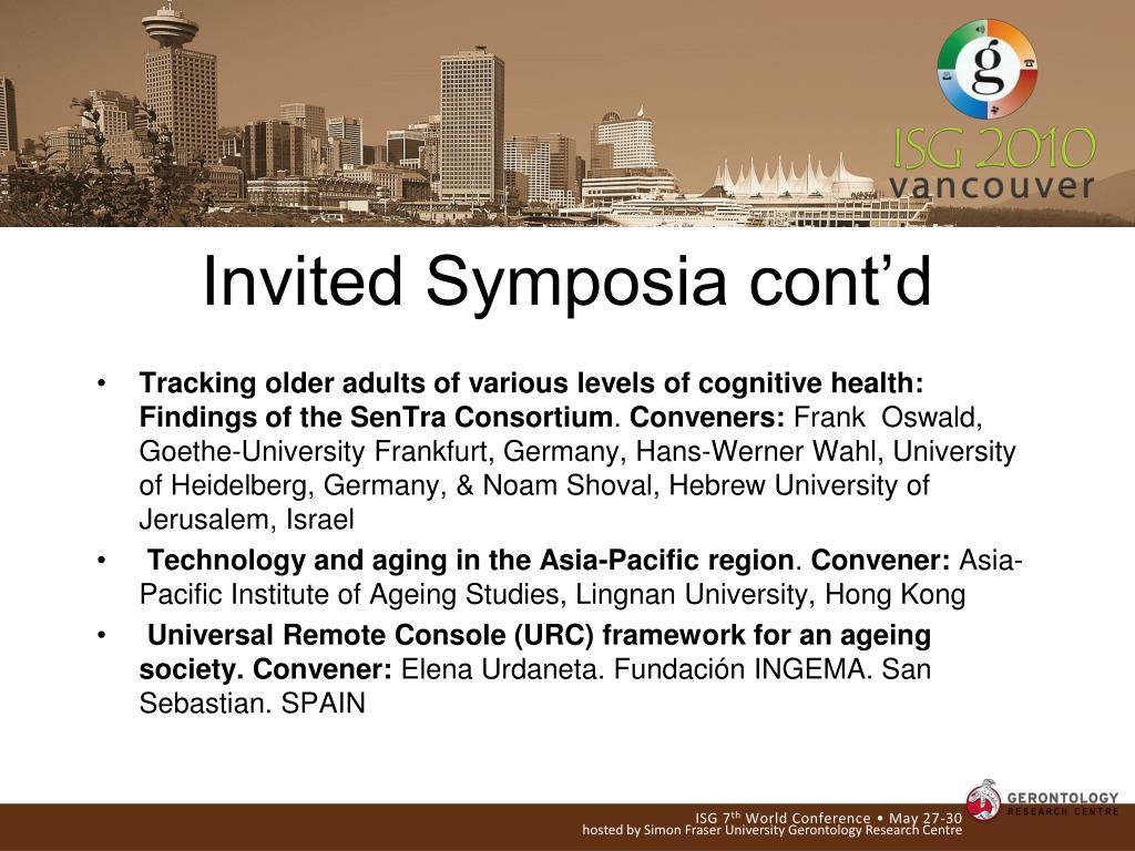 Invited Symposia cont'd