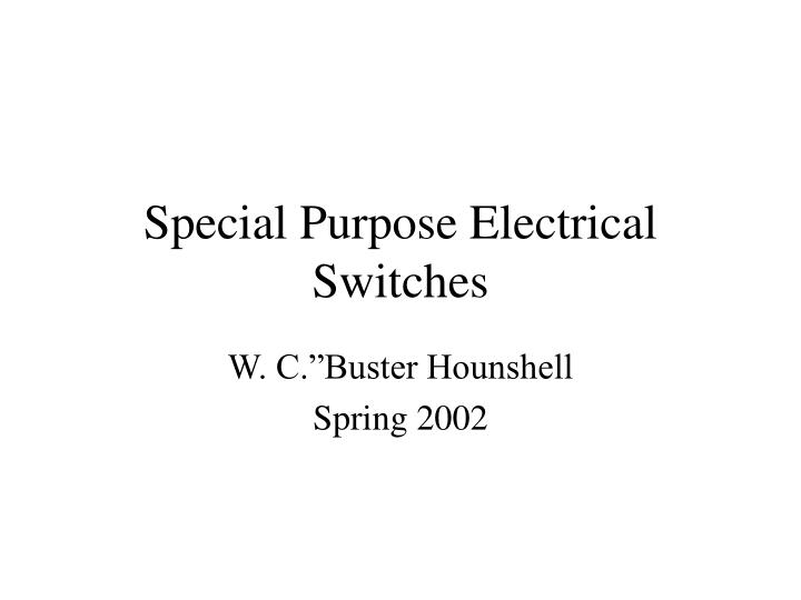 special purpose electrical switches n.