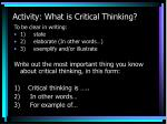 activity what is critical thinking
