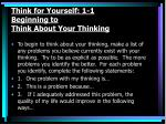 think for yourself 1 1 beginning to think about your thinking