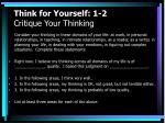 think for yourself 1 2 critique your thinking
