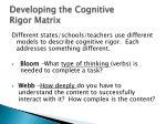developing the cognitive rigor matrix