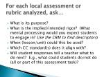 for each local assessment or rubric analyzed ask