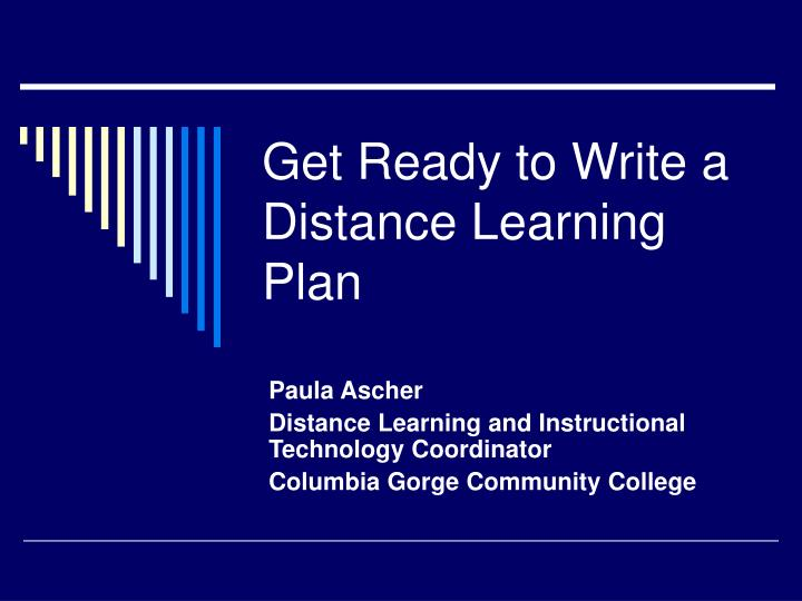 get ready to write a distance learning plan n.
