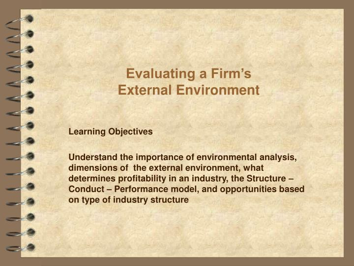 evaluating a firm s external environment n.