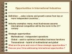 opportunities in international industries