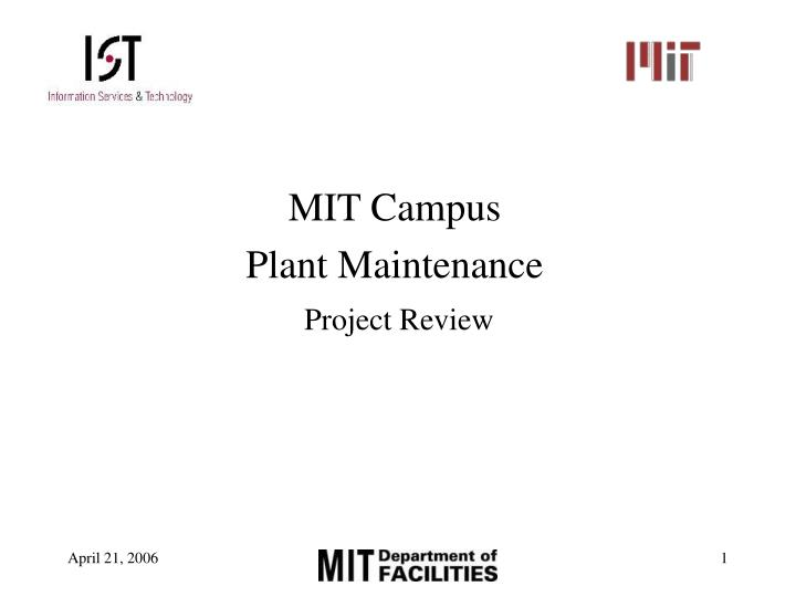 mit campus plant maintenance project review n.