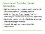 research and apply for outside scholarships
