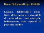 danno biologico d lgs 38 2000