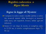 rigidit cadaverica o rigor mortis segue la legge di nysten