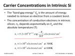 carrier concentrations in intrinsic si