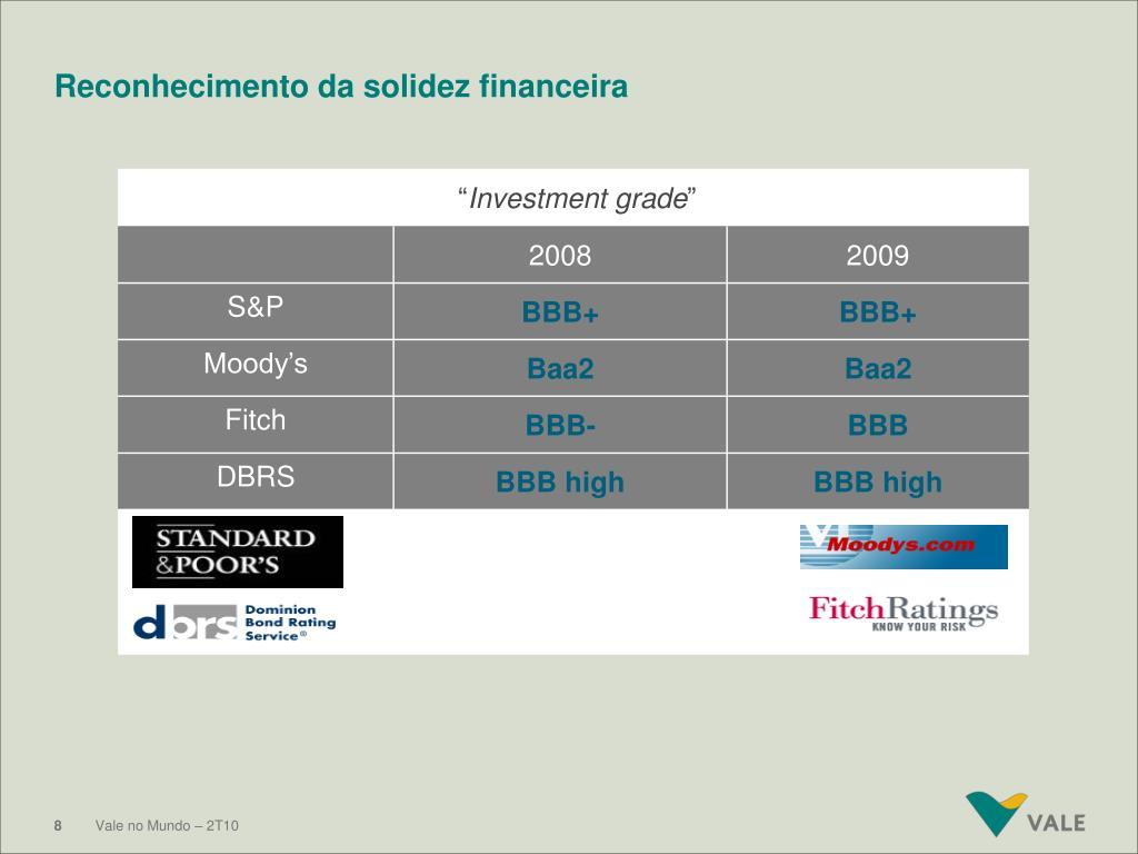 Reconhecimento da solidez financeira