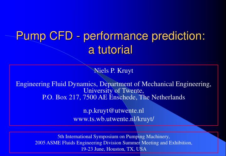 pump cfd performance prediction a tutorial n.