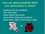how can eating breakfast affect your performance in school