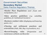 government securities secondary market sales practice regulatory themes