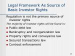 legal framework as source of basic investor rights