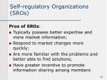 self regulatory organizations sros