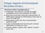 unique aspects of government securities cont