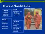 types of hazmat suits
