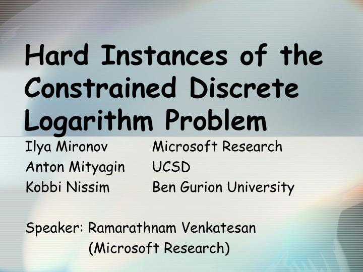 hard instances of the constrained discrete logarithm problem n.