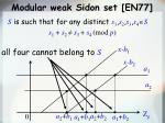 modular weak sidon set en77