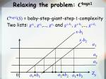 relaxing the problem c bsgs1