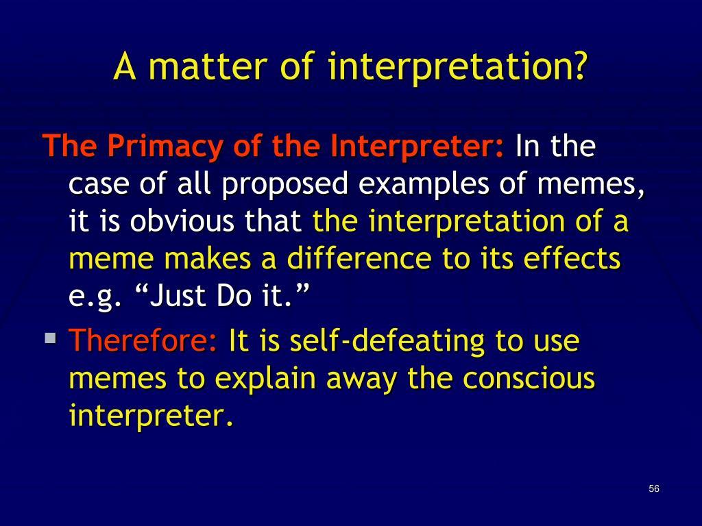 A matter of interpretation?