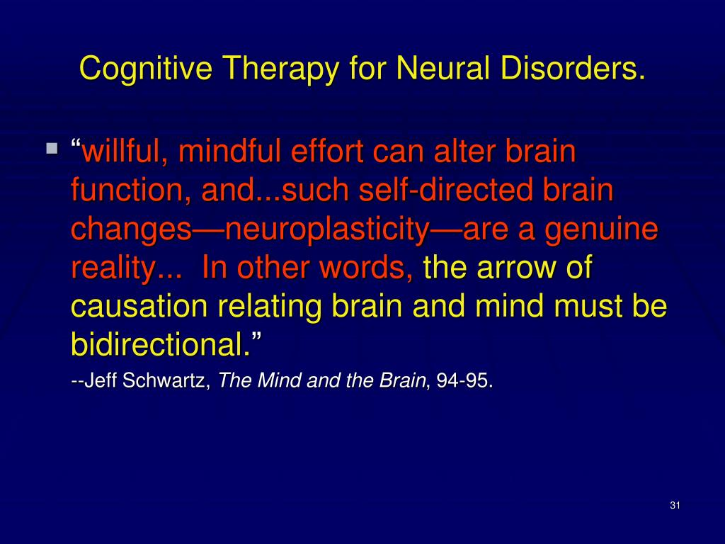 Cognitive Therapy for Neural Disorders.