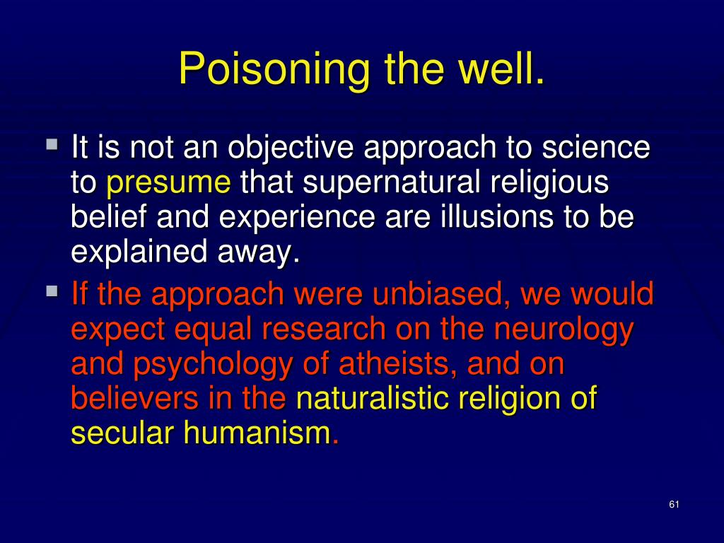 Poisoning the well.