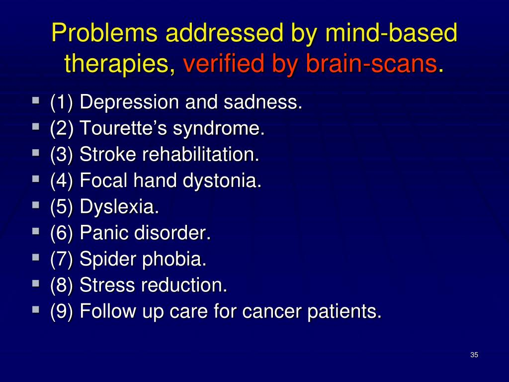 Problems addressed by mind-based therapies,