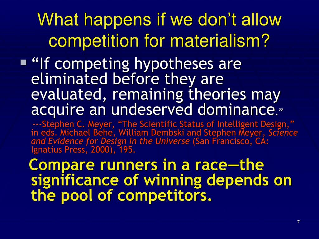 What happens if we don't allow competition for materialism?