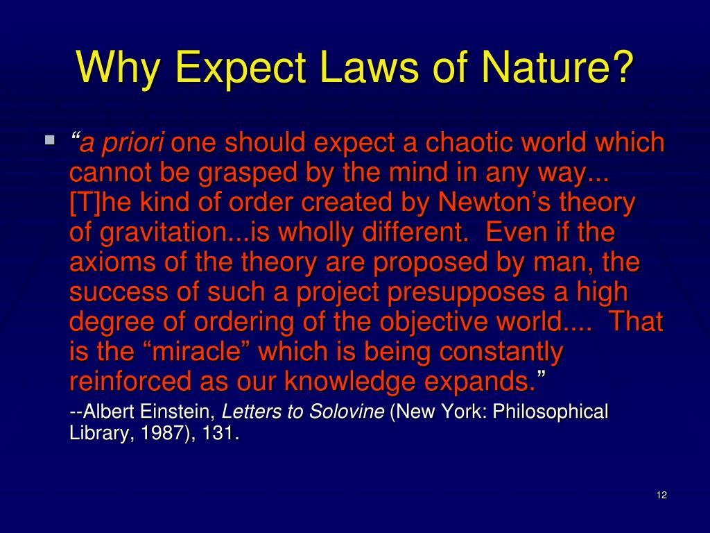 Why Expect Laws of Nature?