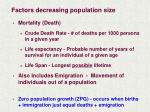 factors decreasing population size