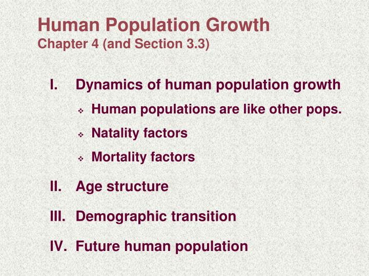 human population growth chapter 4 and section 3 3 n.