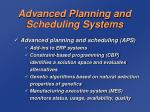 advanced planning and scheduling systems1