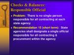 checks balances responsible official