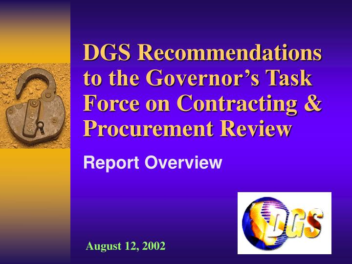 dgs recommendations to the governor s task force on contracting procurement review n.