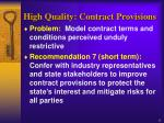 high quality contract provisions