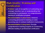 high quality training and certification