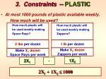 3 constraints plastic